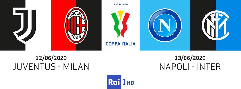 Coppa Italia: Juventus-Milan e Napoli-Inter, su Rai 1 HD