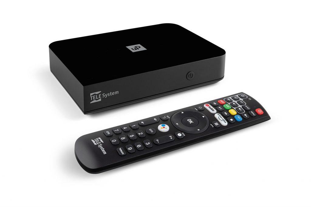 UP T2 4K e telecomando con tasti YouTube e Prime Video