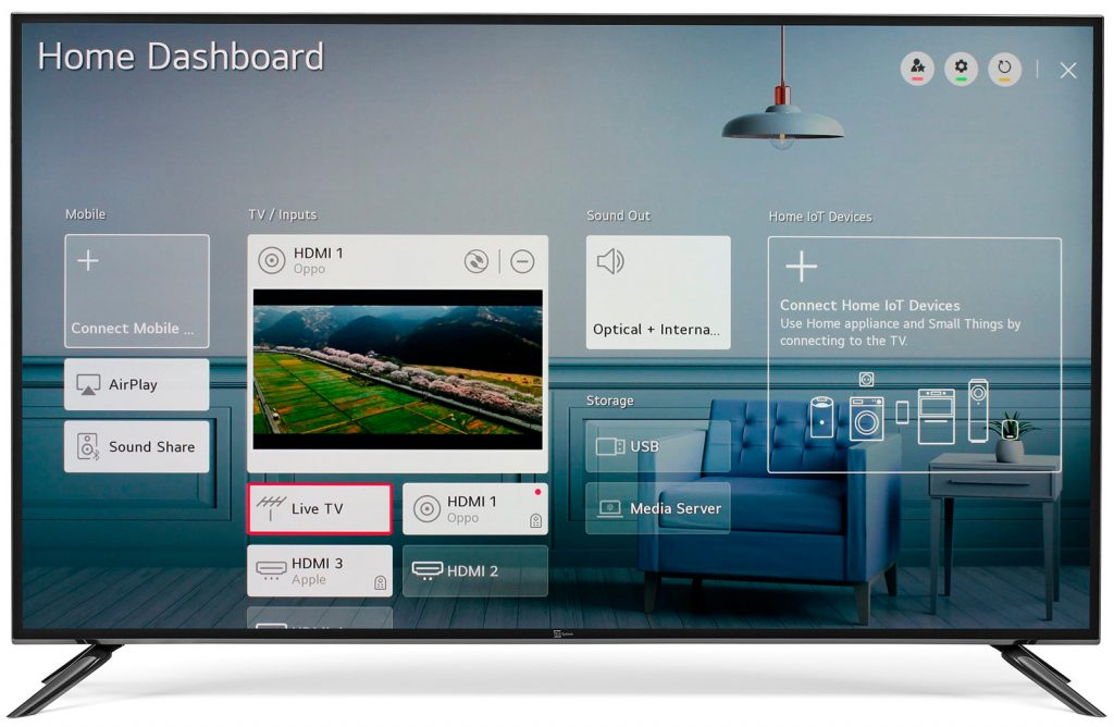Web OS home dashboard