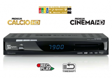 Bollino Gold DGTVi, Premium Calcio HD, Cinema HD, registrazione, timeshift, media player: TS7900HD