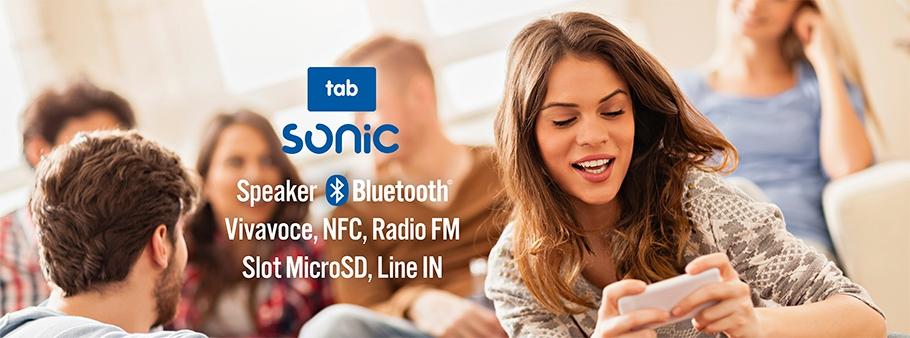 SONIC tab: speaker Bluetooth, con NFC, Vivavoce, Radio FM, slot Micro SD