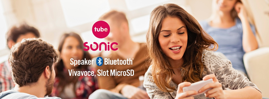 SONIC tube: diffusore audio bluetooth, Vivavoce, slot MicroSD