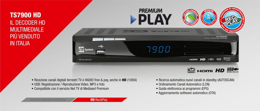 TS7900HD: il Decoder HD multimediale più venduto in Italia