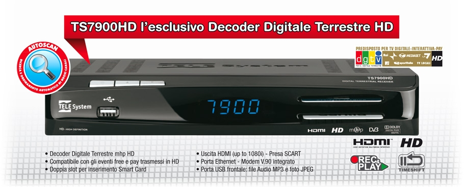 TS7900HD: l'esclusivo decoder digitale terrestre HD