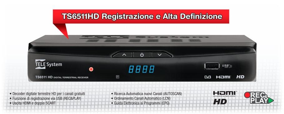 Decoder digitale terrestre pvr hd zapper ts6511hd tele for Definizione della lista punch