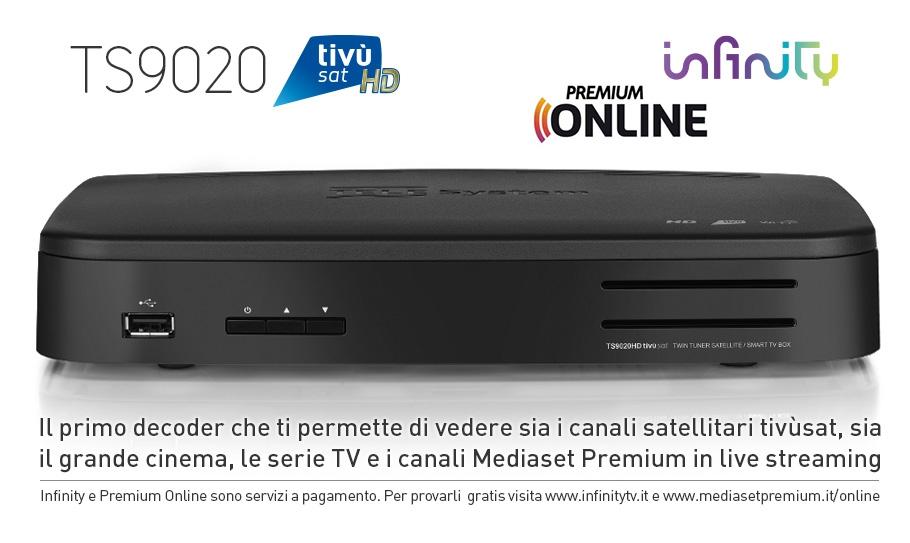 TS9020HD tivùsat, infinity, Premium Online